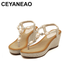 CEYANEAO Women Sandals Bohemia diamond Wedges Gladiator Beac