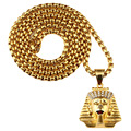 Men's Gold Plated Ankh Ancient Egypt King Necklace Egyptian Pharaoh Pendant Chains Hip Hop Jewelry New Year Gifts