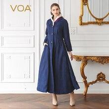 цены VOA 2018 Winter Navy Blue Marten Fur Edging Silk Jacquard Tunic Warm Coat Vintage Plus Size Women Maxi Long Parka Coat MLX00501