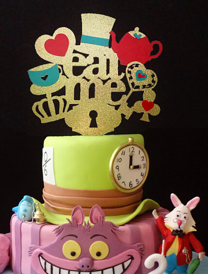 Fashion Acrylic Alice In Wonderland Cake Topper Eat Me Birthday Tools Wedding Party Decorations