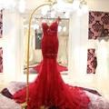 Длинные русалка спинки кружева красный вечерние платья 2016 женщины вечерние платья халат де вечер