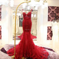 Long Mermaid Backless Lace Red Evening Dresses 2016 Women Evening Gowns Robe De Soiree