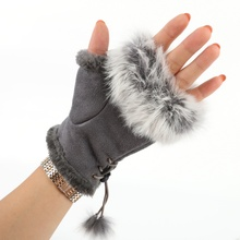 1 Pair Women Warm Gloves Winter Glove Sexy Faux Rabbit Fur H