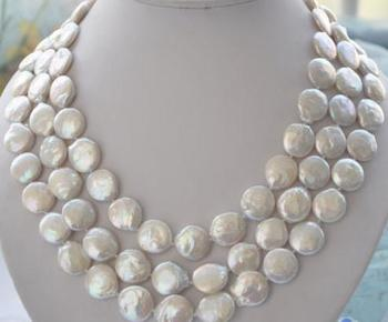 Charming Pearl Jewelry Huge 10-11mm White Coin Freshwater Pearl Necklace 48'' Long Pearl Necklace