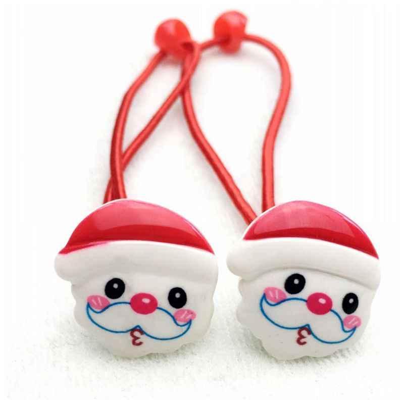 1 шт. для маленьких девочек милые Merry Рождество эластичные волосы веревка дерево Санта Клаус колокольчик смолы хвост держатель Завязки для волос