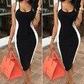2016 Женщины Лето Dress Рукавов Черный и Белый Лоскутная Повседневная Bodycon Dress Sexy Summer Танк Клуб Платья S-XL