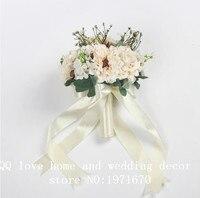 Rosa branca De Seda Casamento Flores Bouquets de Noiva Flores Da Fita de Rosa Flores Artificiais Baratos Handmade Flores Do Casamento Decoração