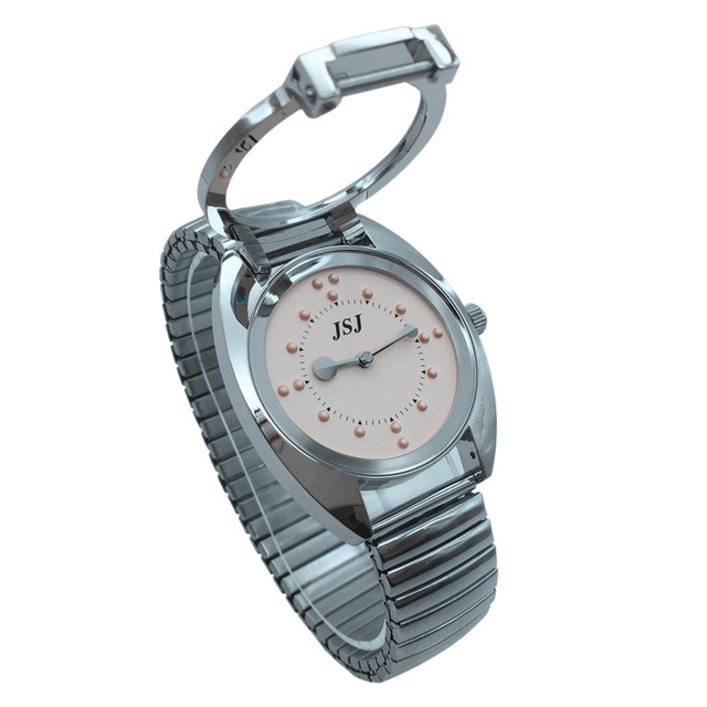 Braille Ladies Tactile Watch Flex Band Pink Dial