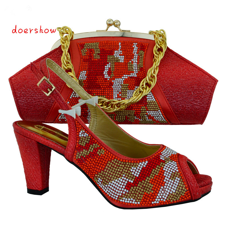 doershow new 2015 ,Shoes and bags series Lovely design Italian ladies high heel shoes and matching bag set for party! !HVB1-32