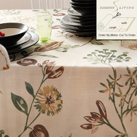280cm Wide Magnolia Betty Flowers Brown Cotton Linen Blackout Drapery Fabric Window Curtains Fabric Tablecloth DIY