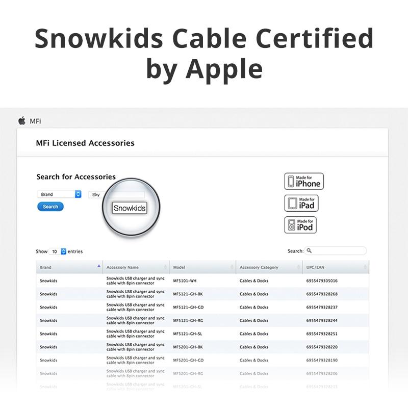 Snowkids MFi Kabel, İldırımdan USB Kabel Məlumat Sinxronizatoru - Cib telefonu aksesuarları və hissələri - Fotoqrafiya 2