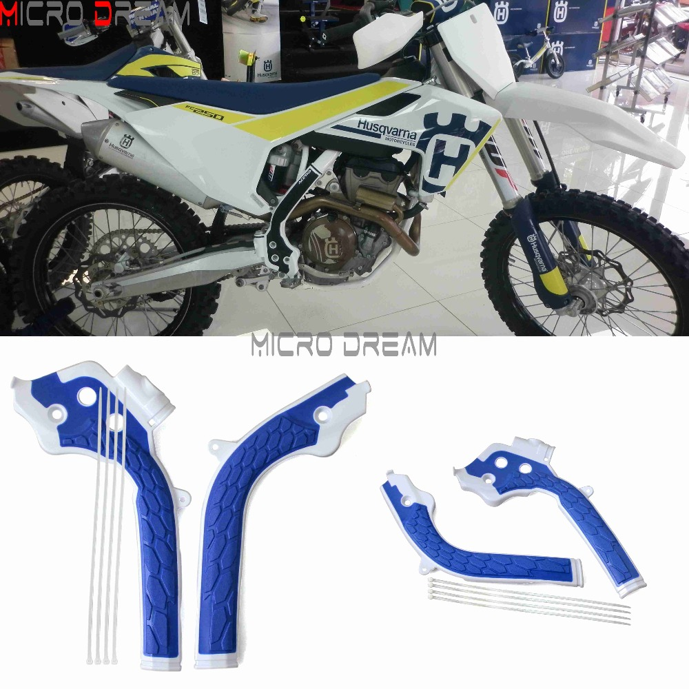 Blue Dirt Bike Frame Guards Motocross Protector Frameguard For Husqvarna TE/FE/FC/TC  125/250/300/350/450  KTM SX/EXC/SXF/EXCF