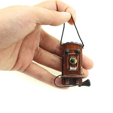 1:12 Dollhouse Miniature Antique Wall Mount Phone Vintage Style Livingroom Bedroom Kitchen Furniture Accessories(China)