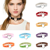 Hot Harajuku Fashion Sexy Punk Gothic Heart Leather Necklace Women Jewelry Rivet Buckle Chain PU Leather Collar Choker Necklace