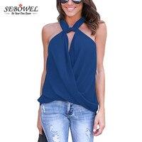 SEBOWEL 2017 New Arrival Elegant Plus Ssize Summer Tshirts Casual Women T Shrit Tank Tops Drape