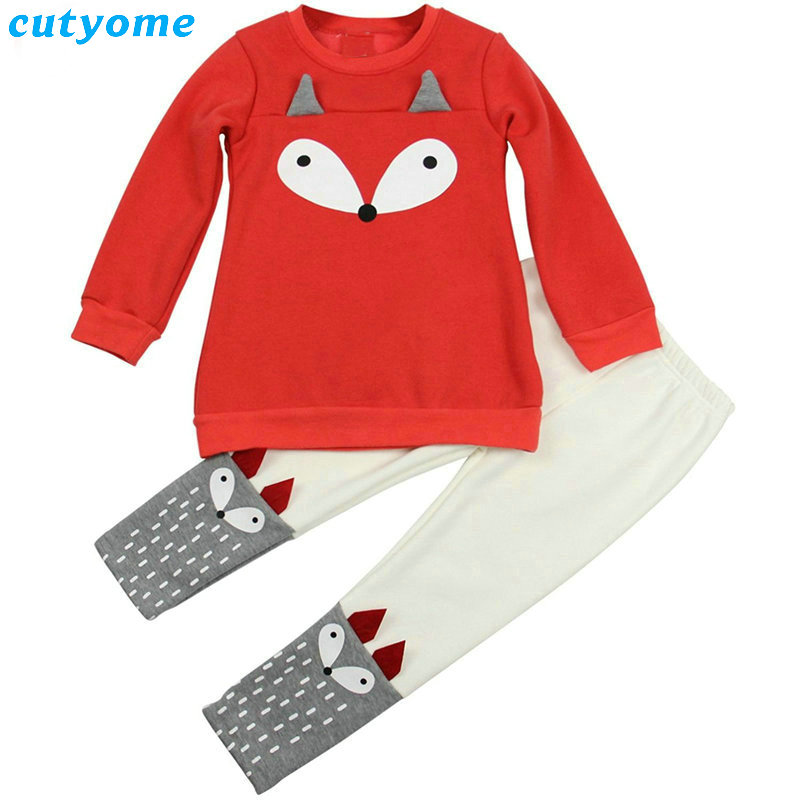 Cutyome 2017 Newborn Baby Girls Animal Fox Printed Clothing Set(long Sleeve T-shirt+pants) Infantil Boys Cotton Clothes Suits