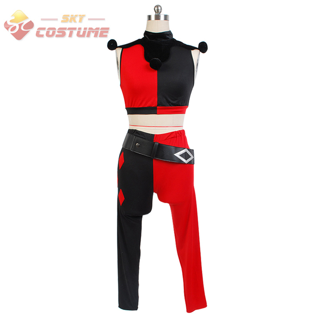 Batman Assaul On Arkham Harley Quinn The Joker Black Red Adult Women Suits Cosplay Costumes For Halloween Party Full Set