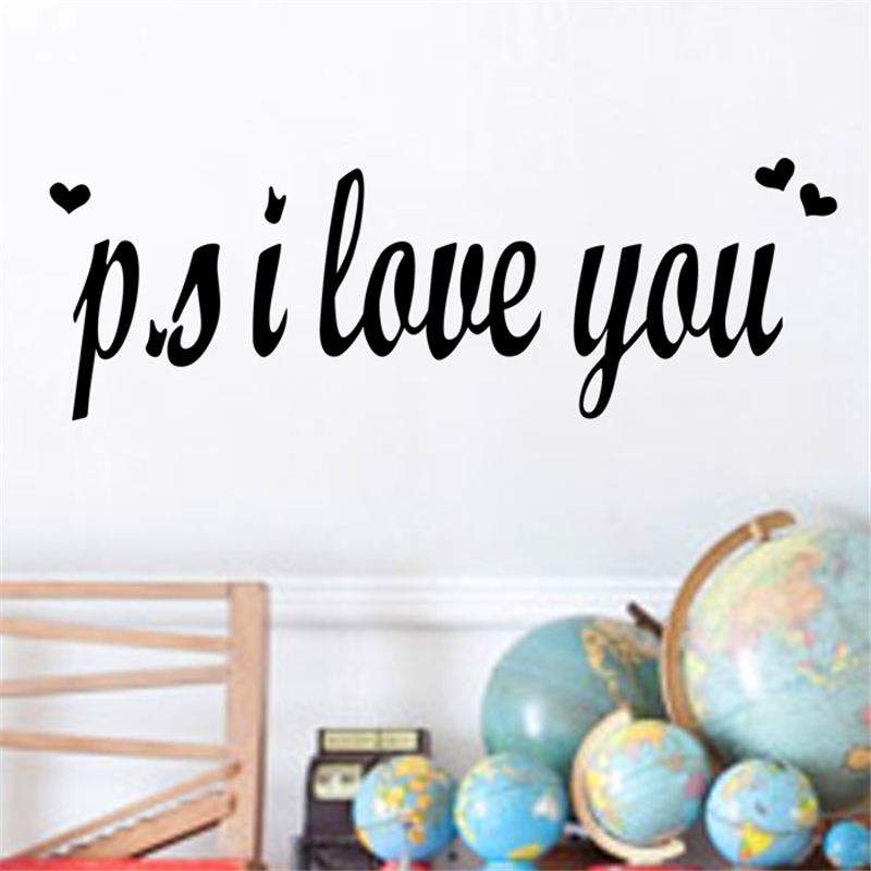 New p.s I Love You Wall Sticker Bedroom Decor Quotes Mural Art Diy Vinyl Home Decal Valentine Gift ...