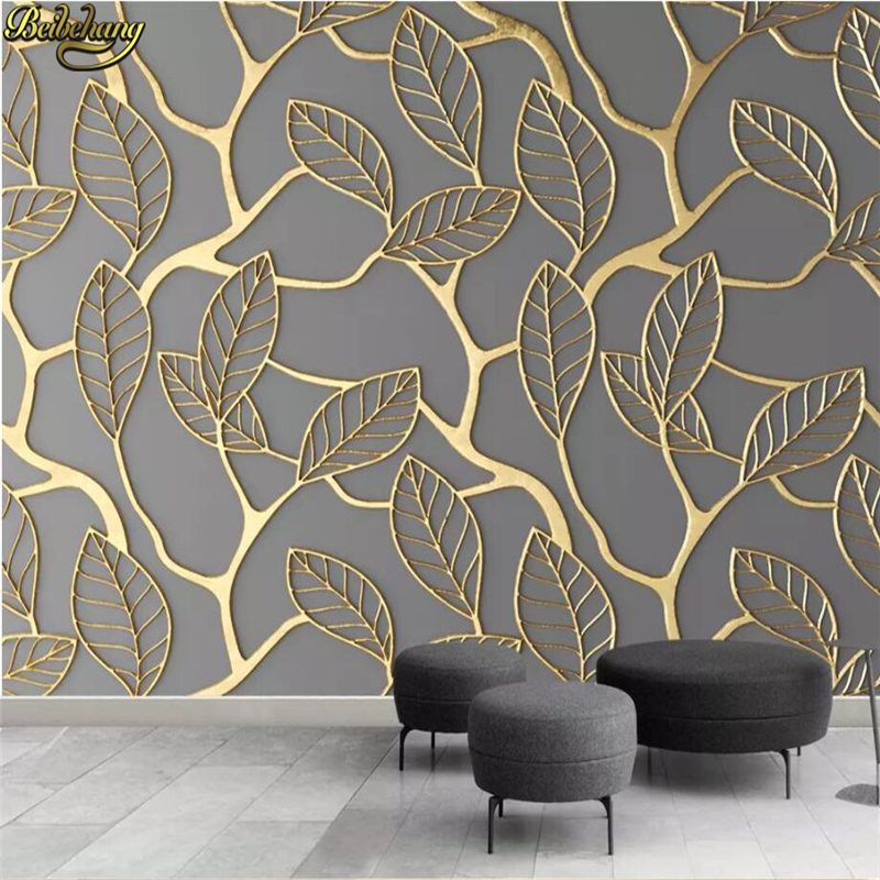 beibehang custom Embossed Golden leaves Mural Wallpaper for Living Room TV Background photo Painting Wall paper Home Decoration