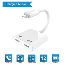 Audio Adapter Charger Cable For iPhone XS 7 8 Dual Lightning Interface Headphone Charge Converter