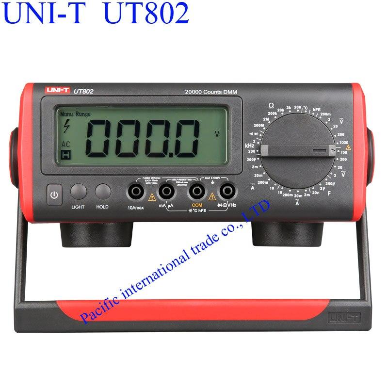 UNI-T UT802 Bench Type Multimeter Digital with Thermometer, LCD Display, Data Hold Automatic Range  Ammeter Multitester  uni t ut90c ut 90c low price best multimeter digital with lcd display