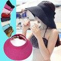 2016 Nuevas mujeres del verano femenino del sombrero del sol sombrero sombreros de playa portátil al aire libre puede ser plegado a lo largo de la tapa superior vacía casquillos ocasionales venta al por mayor