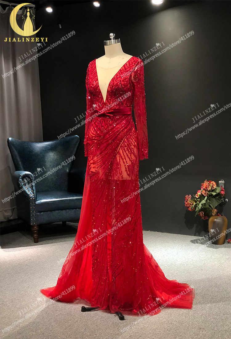 JIALINZEYI מדגם אמיתי אדום ארוך שרוולי חרוזים סקסי V צוואר קריסטל בת ים פורמליות שמלות מפלגה ערב שמלות