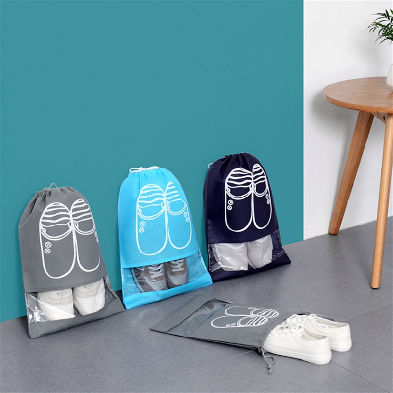 Travel Shoes Drawstring Bags Non-woven Fabric Drawstring Harness Pocket Window Shoe Boots Dust Pouch Travel Storage Package Bags