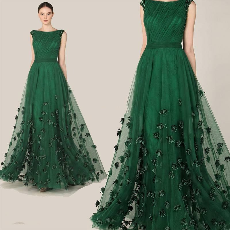 Robe de Soiree Dark Green Lace Tulle Formal Evening Dresses Maxi ...