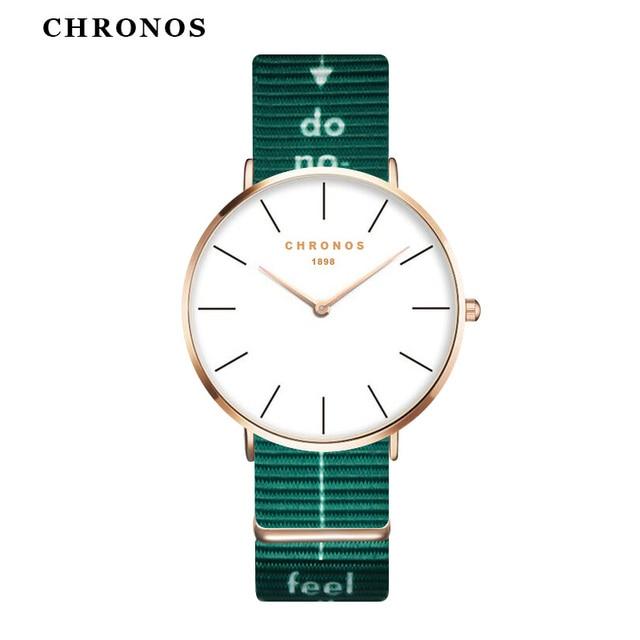 CHRONOS Men Women Simple Nylon Watches Unisex Quartz Watch Rose Gold Case Analog