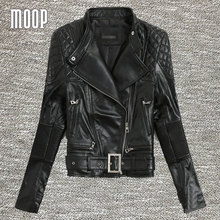 Black real leather-based jackets ladies sheepskin motorbike jacket veste cuir veritable pour femme chaquetas de cuero mujer LT005