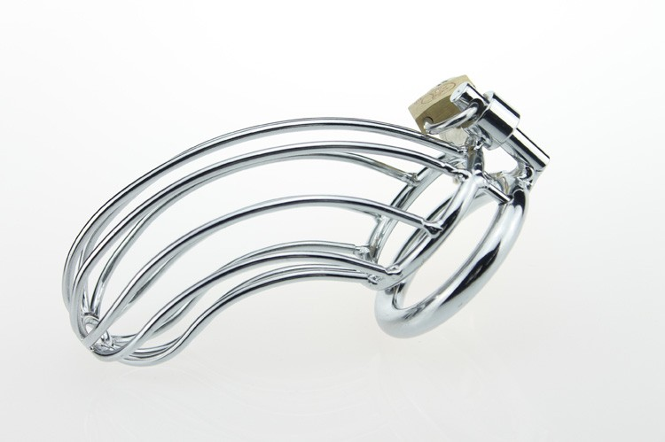 Adult Gift Stainless Steel Male Cock Cage Chastity Metal Sex Toys For Men 3 kinds of different Ring Size Choice 6