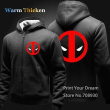 Free shipping Winter Thicken Warm solid women Men Deadpool Hoodies sweatshirt Print zipper cardgain Fleece  coat