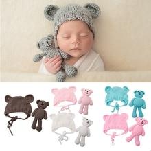 NEW Newborn Baby Girl Boy Photography Prop Photo Crochet Knit Costume Bear +Hat Set