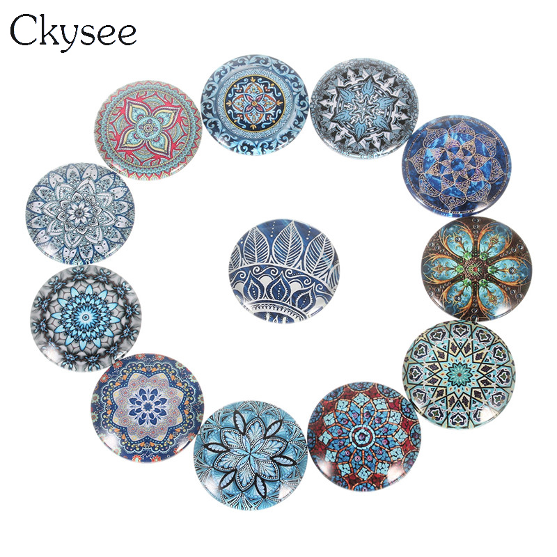 Ckysee 12mm 18mm 20mm 25mm Vintage Flower Photo Glass Cabochon Cameo Round Cabochons For Base Setting Jewelry Makings