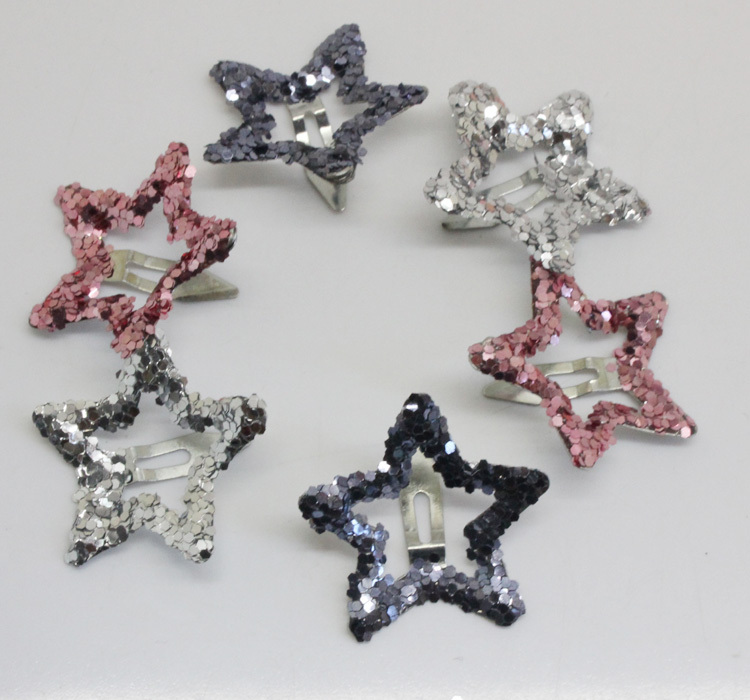 6pcs/lot kids glitter color Hair Snap Clip Kids stars headwear Five-pointed stars Hairpins hair Accessories