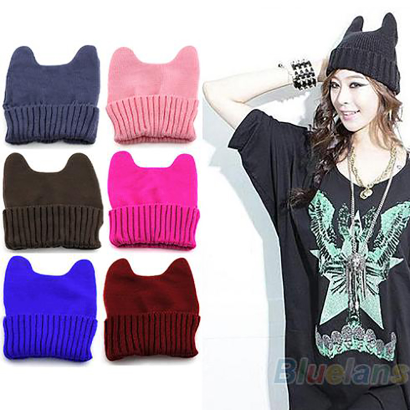 Hot Fashion Soft Cute Women Girl Warm Winter Cat Ear Shape Knitted Hat Elastic Beanie Cap Christmas Gift 02HK 453C 7FC5