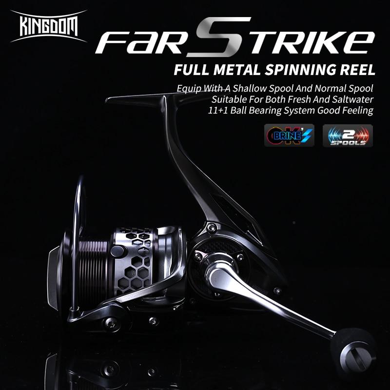 Kingdom New FAR STRIKE II Spinning Fishing Reel Two Spools 11 1BB 5 21 All metal