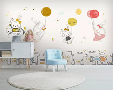 beibehang Custom Nordic Simple Fashion Balloon Bunny Children Room Background Wallpaper papel de parede wall papers home decor(China)