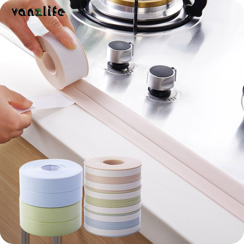 vanzlife PVC waterproof mildew proof adhesive tape, kitchen sink joint crevice sticker, corner line sticking strip