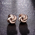 CHSOUL Rose Gold Plated Earrings Classic Design Love Knot Post Stud Boucle D'oreille Jewelry