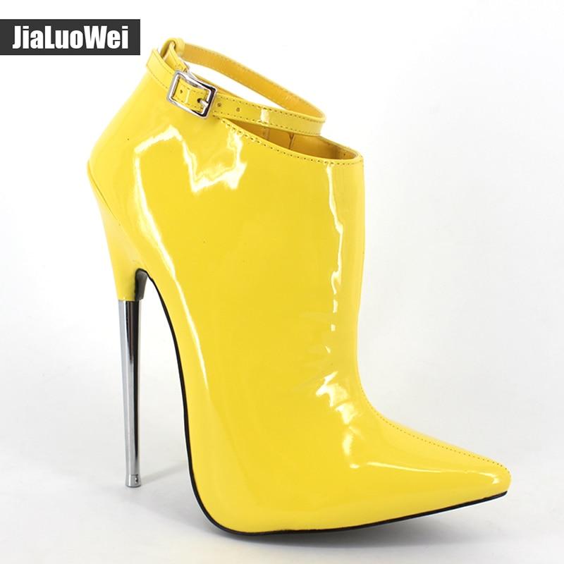 jialuowei New Fashion 18cm Ultra High Heel Shoes Pointed toe Metal Heels Zip Buckle Strap Women
