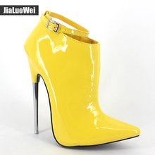 jialuowei 2017 New Fashion 18cm Ultra High Heels Pointed toe Metal Heels Zip Buckle Strap Women Sexy Fetish Ankle Boots  jialuowei brand new fashion women boots 12cm high heels sexy fetish pointed toe ankle boots ladies shoes botas mujer plus size