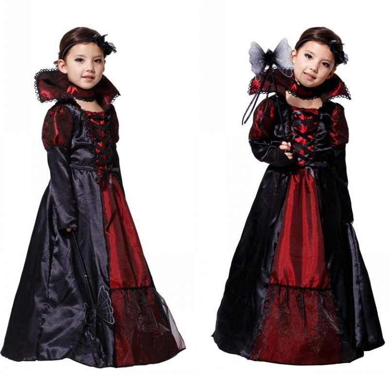 halloween girls costumes vampire queen children costume set cosplay halloween kids black lace party dress neckwear in girls costumes from novelty - Halloween Costumes Vampire For Girls