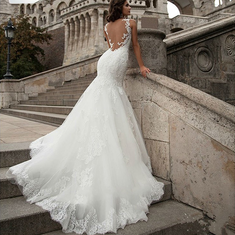Elegant Lace Appliques Mermaid Wedding Dresses Sexy Illusion Back Bridal Wedding Gowns White Ivory Vestido De Noiva Custom Made
