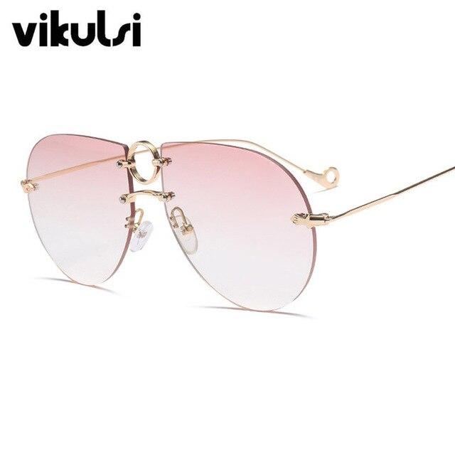 783c094e52a5fc 2018 Date Surdimensionné Carré lunettes de Soleil Femmes Sans Monture  Marque Designer Lunettes de Soleil Rondes