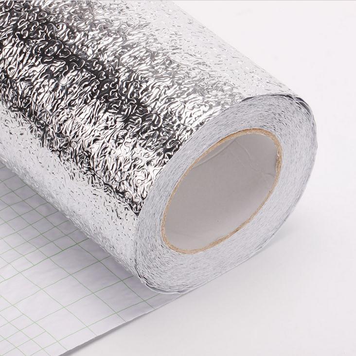 Folha de Alumínio metalizado papel Contact Casca Stiker para Cozinha Papel De Parede à prova d