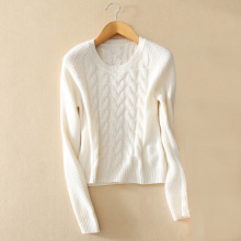 Fashion women's 100% cashmere knitting pullover sweater with longer back hem 6 colors O-neck long sleeves