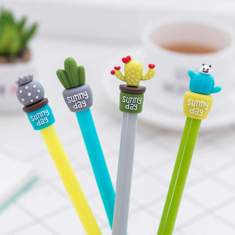 1PC /4Pcs Korean Stationery Cute Cactus Pen Advertising Gel Pen School Fashion Office Kawaii Supply