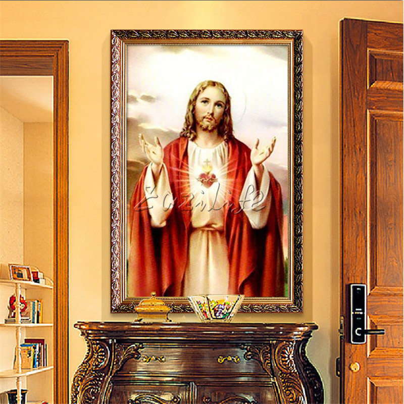 Home decor jesus christ painting sacred heart of jesus for Ica home decor